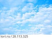 Купить «Soft white clouds in the sky», фото № 28113325, снято 19 мая 2017 г. (c) Роман Сигаев / Фотобанк Лори