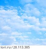 Купить «White clouds in the sky», фото № 28113385, снято 19 мая 2017 г. (c) Роман Сигаев / Фотобанк Лори