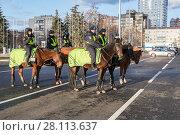 Купить «Отряд женской конной полиции на городской улице в Самаре», фото № 28113637, снято 16 ноября 2017 г. (c) FotograFF / Фотобанк Лори