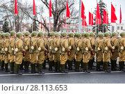 Купить «Soldiers in old soviet military uniform», фото № 28113653, снято 6 ноября 2017 г. (c) FotograFF / Фотобанк Лори