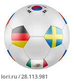 3D soccer ball with group F flags of Germany, Mexico, Sweden, Korea Republic on white background. Match between Germany and Sweden. Стоковая иллюстрация, иллюстратор LVV / Фотобанк Лори
