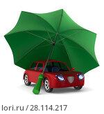 Купить «Red car and green umbrella on white background. Isolated 3D illustration», иллюстрация № 28114217 (c) Ильин Сергей / Фотобанк Лори