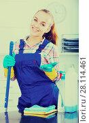 Купить «portrait of young woman cleaning», фото № 28114461, снято 23 мая 2018 г. (c) Яков Филимонов / Фотобанк Лори