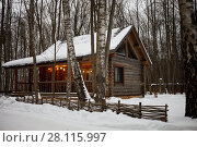 Купить «Wooden log-house with illuminated veranda in winter forest», фото № 28115997, снято 4 февраля 2017 г. (c) Losevsky Pavel / Фотобанк Лори