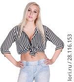 Купить «Young beautiful woman in shirt poses isolated on white background», фото № 28116153, снято 31 октября 2016 г. (c) Losevsky Pavel / Фотобанк Лори