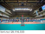 Купить «MOSCOW - NOV 5, 2016: Two teams wait volleyball game Dynamo (Moscow) and Ural (Ufa) in Palace of Sports Dynamo», фото № 28116333, снято 5 ноября 2016 г. (c) Losevsky Pavel / Фотобанк Лори