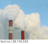 Купить «Two red pipes of factory and white smoke in blue sky at sunny day», фото № 28116533, снято 30 ноября 2016 г. (c) Losevsky Pavel / Фотобанк Лори