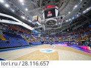 Купить «MOSCOW - JAN 27, 2017: Basketball court before game CSKA (Moscow) - Anadolu Efes (Istanbul) in Megasport stadium», фото № 28116657, снято 27 января 2017 г. (c) Losevsky Pavel / Фотобанк Лори