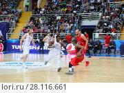 Купить «MOSCOW - JAN 27, 2017: Fight for ball at Basketball game CSKA (Moscow) - Anadolu Efes (Istanbul) in Megasport stadium», фото № 28116661, снято 27 января 2017 г. (c) Losevsky Pavel / Фотобанк Лори