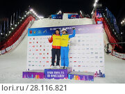 Купить «MOSCOW - FEB 13, 2016: Winners at World Cup FIS Freestyle at night in Krylatskoye», фото № 28116821, снято 13 февраля 2016 г. (c) Losevsky Pavel / Фотобанк Лори