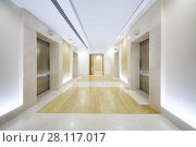 Empty white hall with elevator doors in modern business center. Стоковое фото, фотограф Losevsky Pavel / Фотобанк Лори