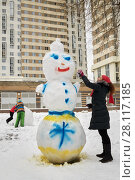 Купить «Woman paints snowman in different colours with spray at residential buildings courtyard», фото № 28117185, снято 23 февраля 2016 г. (c) Losevsky Pavel / Фотобанк Лори