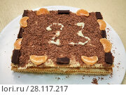 Купить «Cake decorated with chocolate chips, mandarin and chocolate segments and with number twenty three on plate», фото № 28117217, снято 23 февраля 2016 г. (c) Losevsky Pavel / Фотобанк Лори