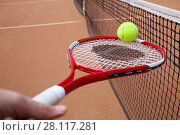 Купить «Tennis racket in hand and ball near black net on court at summer day, focus on ball», фото № 28117281, снято 24 июня 2016 г. (c) Losevsky Pavel / Фотобанк Лори