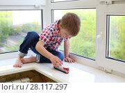 Купить «Little happy boy sits on windowsill and plays toy train at summer day», фото № 28117297, снято 7 мая 2016 г. (c) Losevsky Pavel / Фотобанк Лори