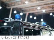 Купить «Blue blinker on black car of cortege on auto exhibition, shallow dof», фото № 28117393, снято 7 марта 2016 г. (c) Losevsky Pavel / Фотобанк Лори