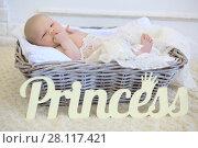 Купить «Cute baby in basket with white plaid in studio, wooden text Princess», фото № 28117421, снято 27 августа 2016 г. (c) Losevsky Pavel / Фотобанк Лори