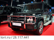 Купить «MOSCOW - MAR 07, 2016: Black Mercedes SUV for cortege at exhibition Oldtimer-Gallery in Sokolniki Exhibition Center. Text - Special Purpose Garage. It is only one in Russia exhibition of vintage cars and technical antiques», фото № 28117441, снято 7 марта 2016 г. (c) Losevsky Pavel / Фотобанк Лори
