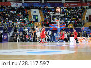 Купить «MOSCOW - JAN 27, 2017: Players during basketball game CSKA (Moscow) - Anadolu Efes (Istanbul) in Megasport stadium», фото № 28117597, снято 27 января 2017 г. (c) Losevsky Pavel / Фотобанк Лори