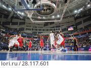 Купить «MOSCOW - JAN 27, 2017: Start of basketball game CSKA (Moscow) - Anadolu Efes (Istanbul) in Megasport stadium», фото № 28117601, снято 27 января 2017 г. (c) Losevsky Pavel / Фотобанк Лори