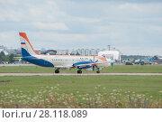 Купить «Новый российский самолет Ил-114 (бортовой номер 91003) готовится взлететь на Международном авиационно-космический салоне МАКС-2017», фото № 28118089, снято 17 июля 2017 г. (c) Малышев Андрей / Фотобанк Лори