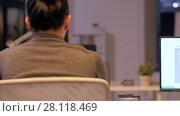 Купить «programmers with computers working late at office», видеоролик № 28118469, снято 29 января 2018 г. (c) Syda Productions / Фотобанк Лори