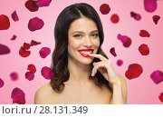 Купить «beautiful smiling young woman with red lipstick», фото № 28131349, снято 5 января 2018 г. (c) Syda Productions / Фотобанк Лори