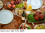 Купить «various food on served wooden table», фото № 28131405, снято 5 октября 2017 г. (c) Syda Productions / Фотобанк Лори