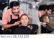 Купить «smiling man hairdresser and woman in salon», фото № 28132225, снято 25 сентября 2018 г. (c) Яков Филимонов / Фотобанк Лори