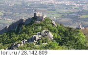 Купить «Panoramic view of Moorish castle in the municipality of Sintra, Portugal», видеоролик № 28142809, снято 4 мая 2017 г. (c) Алексей Кузнецов / Фотобанк Лори
