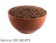 Семена льна в миске, изолированно на белом фоне. Стоковое фото, фотограф Литвяк Игорь / Фотобанк Лори