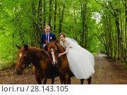 Beautiful newlyweds riding two horses. Стоковое фото, фотограф Чебеляев Геннадий / Фотобанк Лори