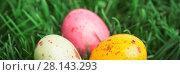 Купить «Three little easter eggs», фото № 28143293, снято 22 января 2019 г. (c) Wavebreak Media / Фотобанк Лори