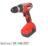 Купить «Rechargeable drill red isolated», фото № 28146057, снято 19 мая 2015 г. (c) Юрий Бизгаймер / Фотобанк Лори