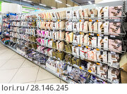 Купить «Different ladyes pantyhose ready to sale at the hypermarket Karusel», фото № 28146245, снято 3 сентября 2017 г. (c) FotograFF / Фотобанк Лори