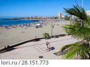 Пляж Playa de Las Vistas в городе Los Cristianos. Атлантический океан, остров Тенерифе, Канары, Испания (2016 год). Редакционное фото, фотограф Кекяляйнен Андрей / Фотобанк Лори