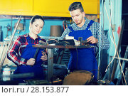 two masters working in workshop. Стоковое фото, фотограф Яков Филимонов / Фотобанк Лори