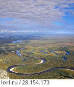 Купить «Top view of forest river in autumn», фото № 28154173, снято 12 сентября 2017 г. (c) Владимир Мельников / Фотобанк Лори