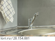 Купить «Faucet in kitchen», фото № 28154881, снято 25 августа 2019 г. (c) Ольга Сапегина / Фотобанк Лори