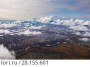 Купить «Clouds above the swamp, top view», фото № 28155601, снято 12 сентября 2017 г. (c) Владимир Мельников / Фотобанк Лори