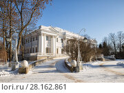 Купить «Elagin Palace on the Elagin Island in winter sunny day. St. Petersburg, Russia», фото № 28162861, снято 4 марта 2018 г. (c) Юлия Бабкина / Фотобанк Лори