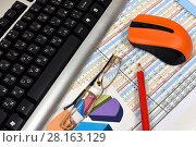 Купить «Компьютер, графики, диаграммы и таблицы. Бизнес-натюрморт», эксклюзивное фото № 28163129, снято 19 июня 2017 г. (c) Юрий Морозов / Фотобанк Лори