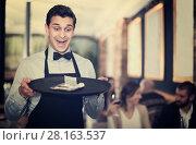 Купить «cheerful waiter holding serving tray with tips», фото № 28163537, снято 11 декабря 2017 г. (c) Яков Филимонов / Фотобанк Лори