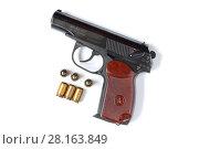 Купить «Травматический пистолет и патроны», фото № 28163849, снято 10 марта 2018 г. (c) Роман Рожков / Фотобанк Лори