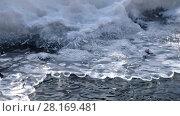 Купить «Video of closeup mooving along tracery edge of an ice floe on Altai creek in Spring season», видеоролик № 28169481, снято 26 марта 2017 г. (c) Serg Zastavkin / Фотобанк Лори