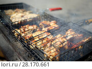 Купить «Crunchy slices of chicken meat on the grill, close-up», фото № 28170661, снято 8 мая 2016 г. (c) Losevsky Pavel / Фотобанк Лори