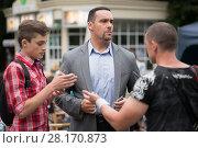 Купить «RUSSIA, MOSCOW - 30 JUL, 2015: Actor Alexander Nevsky standing in the Sokolniki park at shooting movie (Maximum shock)», фото № 28170873, снято 30 июля 2015 г. (c) Losevsky Pavel / Фотобанк Лори