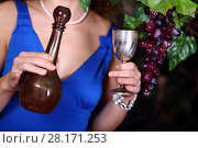 Купить «Female hands woman hold brown bottle and metal goblet near grape vine», фото № 28171253, снято 27 ноября 2015 г. (c) Losevsky Pavel / Фотобанк Лори