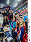Купить «MOSCOW, RUSSIA - SEP 9, 2016: Group of fans at new CSKA Arena sports complex stadium during match between CSKA and Terek soccer teams», фото № 28171269, снято 9 сентября 2016 г. (c) Losevsky Pavel / Фотобанк Лори