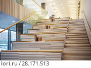 Купить «MOSCOW - APR 16, 2016: Stairs with seats and magazines in Hyundai Motorstudio. Hyundai produces not only cars, but also its own collection of furniture and household items», фото № 28171513, снято 16 апреля 2016 г. (c) Losevsky Pavel / Фотобанк Лори
